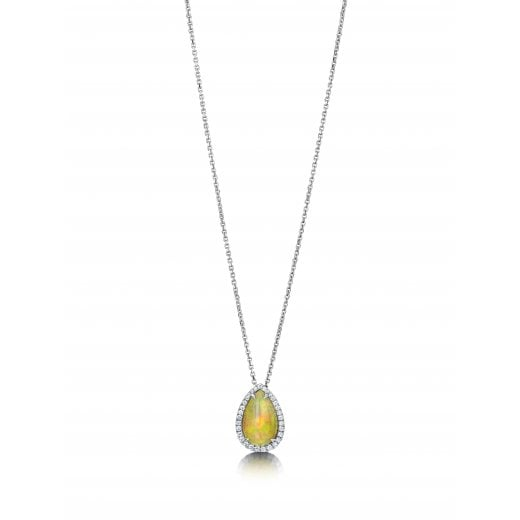 Clearwater Diamonds Ethiopian Opal & Diamond Pendant