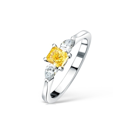 Clearwater Diamonds Fancy Vivid Yellow & White Diamond Three Stone Ring
