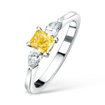 Fancy Vivid Yellow & White Diamond Three Stone Ring