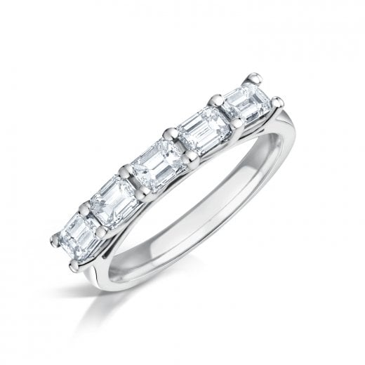 Clearwater Diamonds Five Stone Emerald Cut Diamond Ring