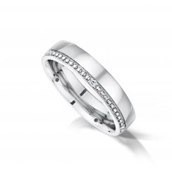 Gents Diamond & Grain Set Wedding Ring