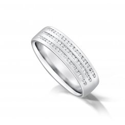 Gents Three Row Diamond Set Wedding Ring