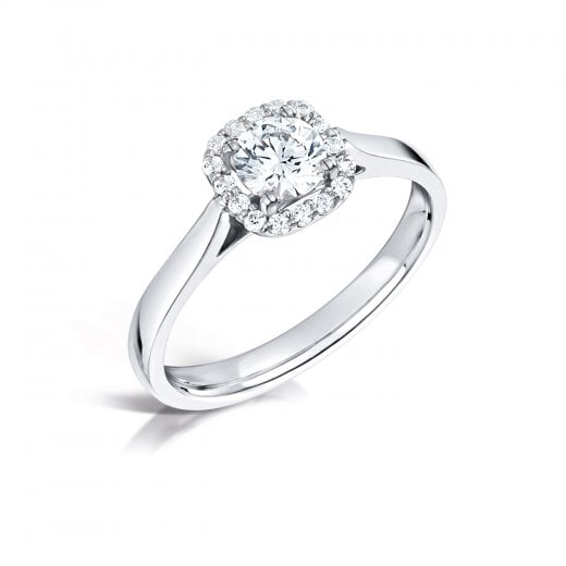 Clearwater Diamonds Halo Diamond Cluster Engagement Ring In Platinum