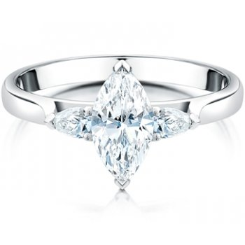 Clearwater Diamonds Marquise & Pear Shaped Diamond Three Stone Ring