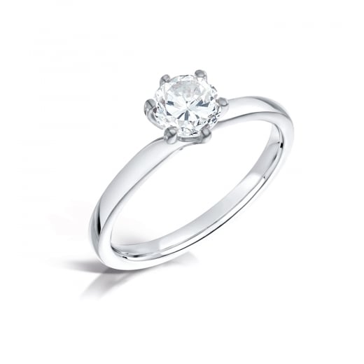 Clearwater Diamonds Modern Six Claw Round Solitaire Engagement Ring