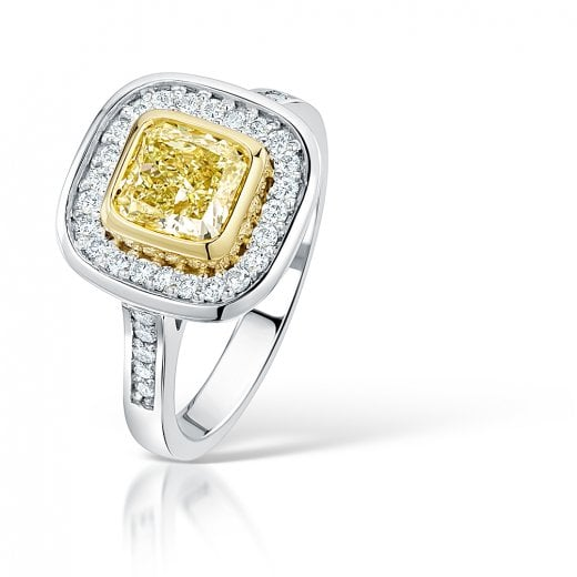Clearwater Diamonds Natural Yellow Diamond Cluster Engagement Ring In Platinum