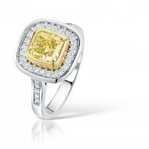 Natural Yellow Diamond Cluster Engagement Ring In Platinum