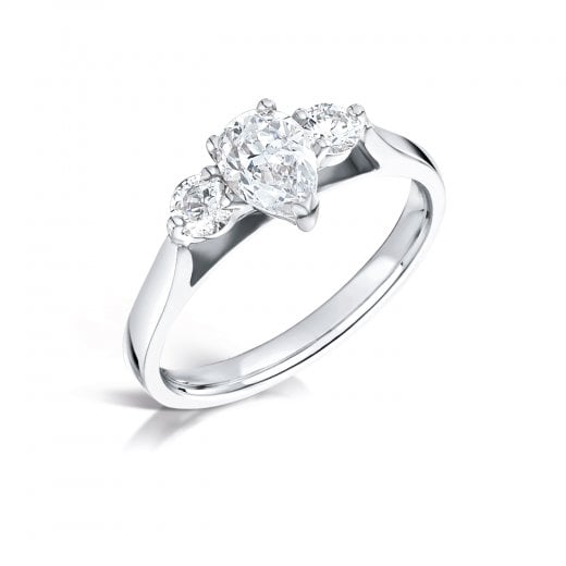 Clearwater Diamonds Pear & Round Brilliant Cut Diamond Trilogy Ring