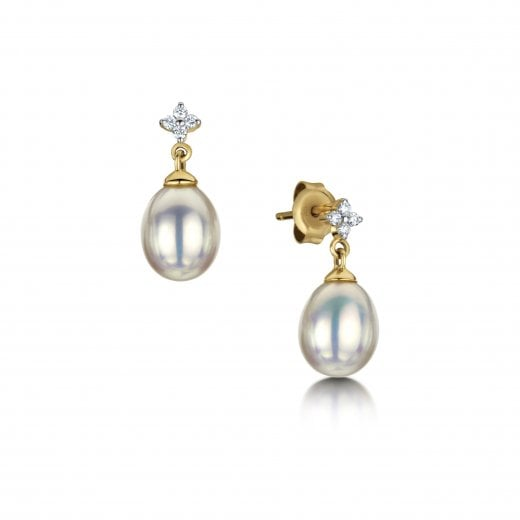 Clearwater Diamonds Pearl & Diamond Drop Earrings in Yellow Gold