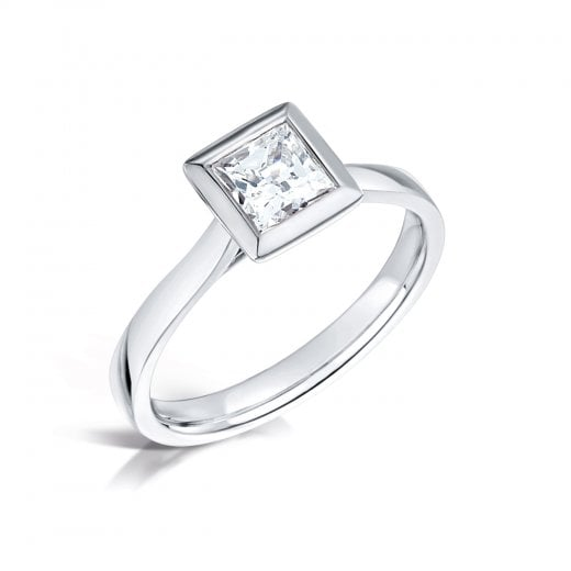 Clearwater Diamonds Princess Cut Diamond Rubover Solitaire