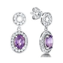 Purple Sapphire & Diamond Earrings