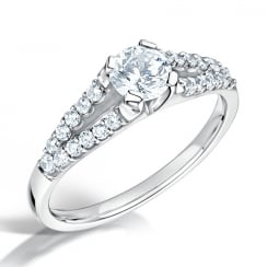 Round Brilliant Cut Diamond Ring with Split Shoulders