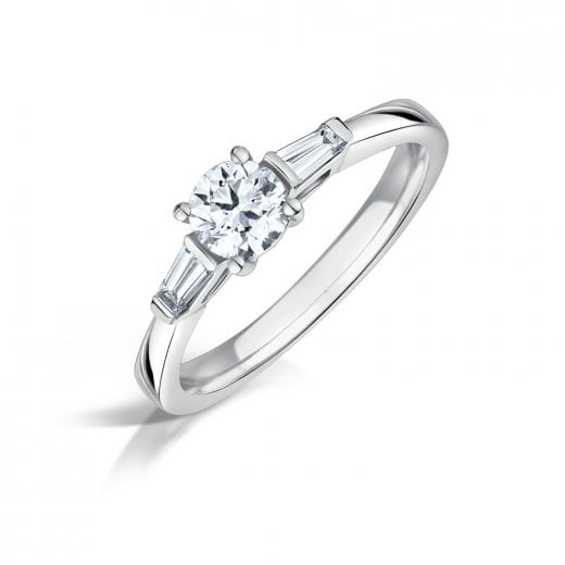 Clearwater Diamonds Round Brilliant Cut Diamond & Tapered Baguette Shaped Diamond Three Stone Ring In Platinum