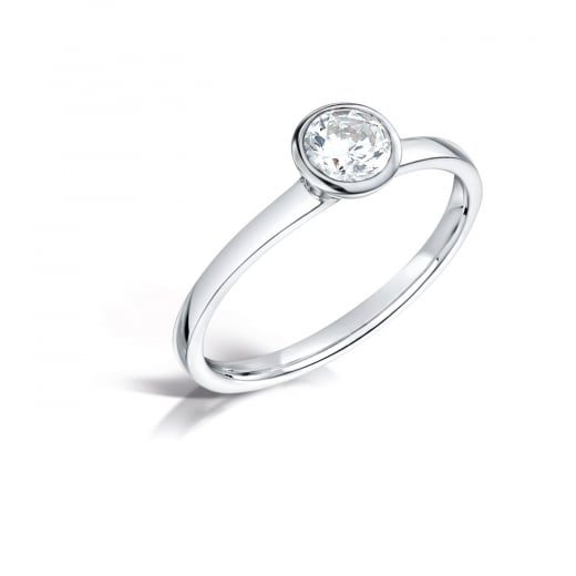 Clearwater Diamonds Round Brilliant Diamond Rubover Solitaire Ring