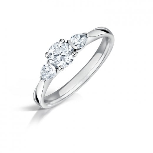 Clearwater Diamonds Round Brilliant & Pear Shaped Diamond Three Stone Ring
