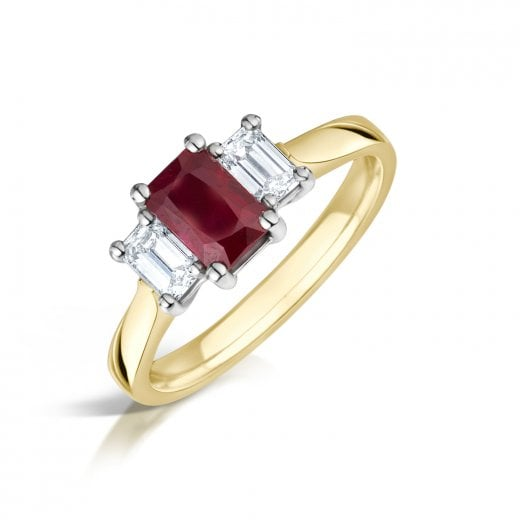 Clearwater Diamonds Ruby & Diamond Three Stone Ring