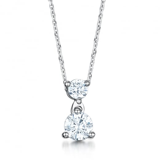 Clearwater Diamonds Two Stone Diamond Drop 18ct White Gold Pendant