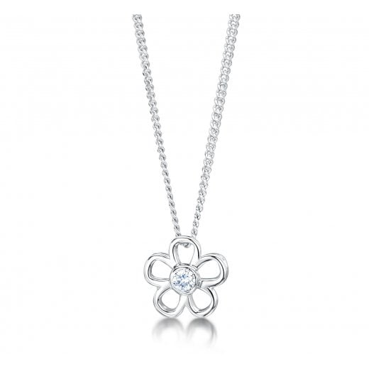 Clearwater Diamonds White Gold Diamond Set Daisy Pendant With Chain