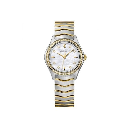 Ebel Ladies Diamond Set Stainless Steel and Gold Wave Watch