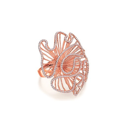 Fei Liu Fine Jewellery Large Cascade Ring in Rose Gold Colour