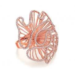 Large Cascade Ring in Rose Gold Colour