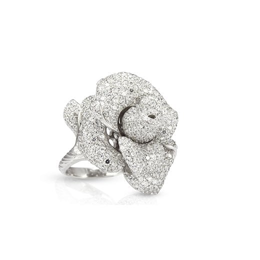 Fei Liu Fine Jewellery Large Peony Ring in Silver