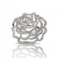 Large Rose Ring in Silver