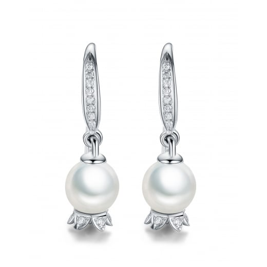 Fei Liu Fine Jewellery Lily of the Valley Hooks Earrings with Pearls 9ct White Gold