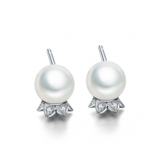 Fei Liu Fine Jewellery Lily of the Valley Stud Earrings with Pearls 9ct White Gold