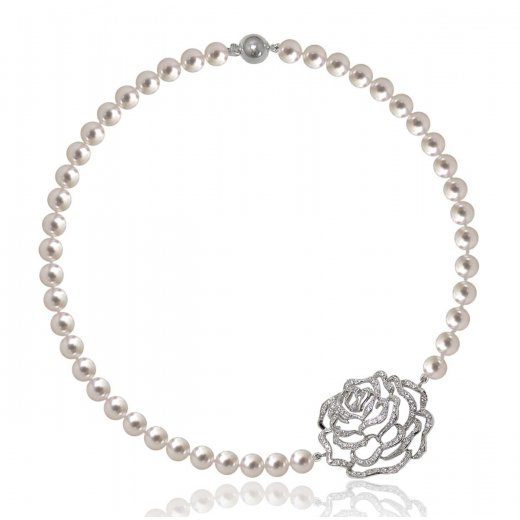 Fei Liu Fine Jewellery Rose Silver Short Pearl Necklace