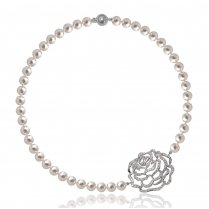 Rose Silver Short Pearl Necklace
