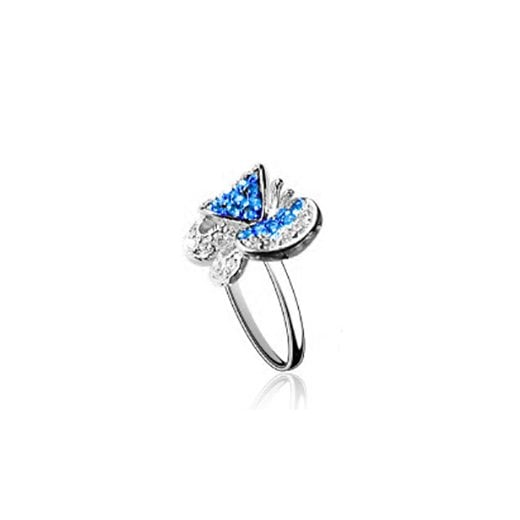 Fei Liu Fine Jewellery Silver Butterfly Ring In Blue