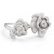 Silver Peony Bangle with Cubic Zirconia