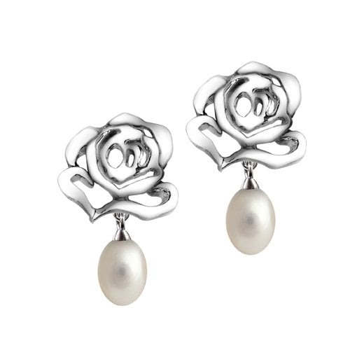 Fei Liu Fine Jewellery Silver Rose Stud Earrings with Pearl Drops
