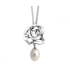 Silver Stud Pendant with Pearl Drop