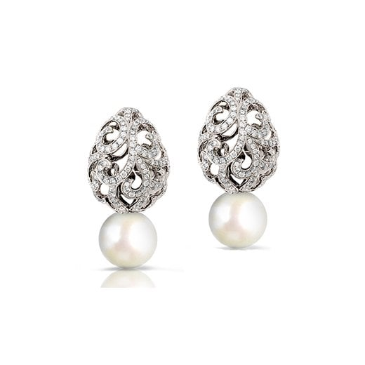 Fei Liu Fine Jewellery Whispering Teardrop Diamond & Pearl Earrings in White Gold