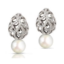 Whispering Teardrop Diamond & Pearl Earrings in White Gold