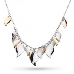 Enchanted Cluster Leaf Multi Gold, Rose Gold Necklace