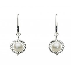 Silver Pearl Nestled Drop Earrings