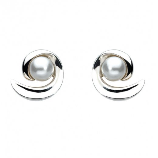 Kit Heath Swirl Swarovski Pearl Stud Earrings