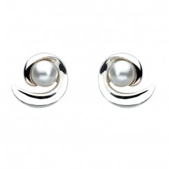 Swirl Swarovski Pearl Stud Earrings