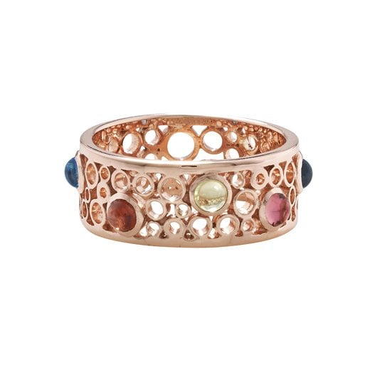 London Road 9ct Rose Gold Bubble Ring With Gems