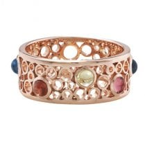 9ct Rose Gold Bubble Ring With Gems