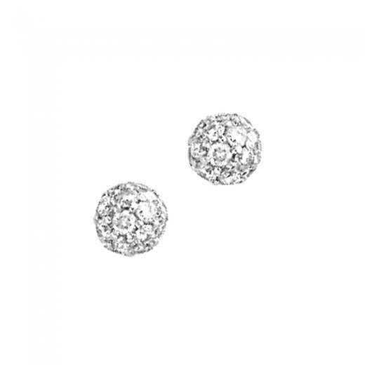 London Road 9ct White Gold Diamond Ball Stud Earrings