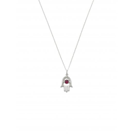 London Road 9ct White Gold Enchanted Hand of Fatima Diamond & Ruby Pendant