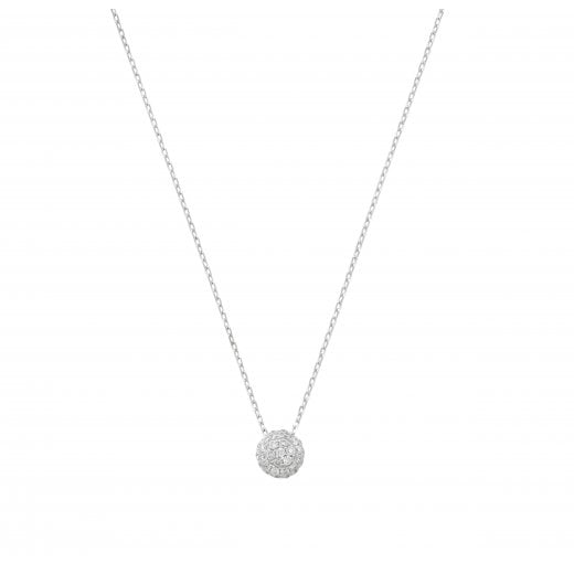 London Road 9ct White Gold Pavé Diamond Ball Pendant Necklace