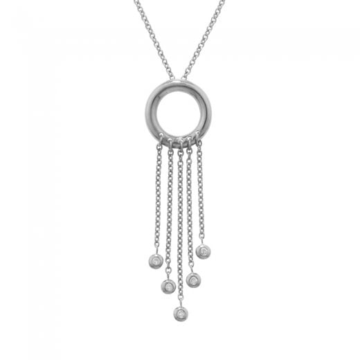 London Road 9ct White Gold Raindrop Fringe Diamond Pendant & Chain