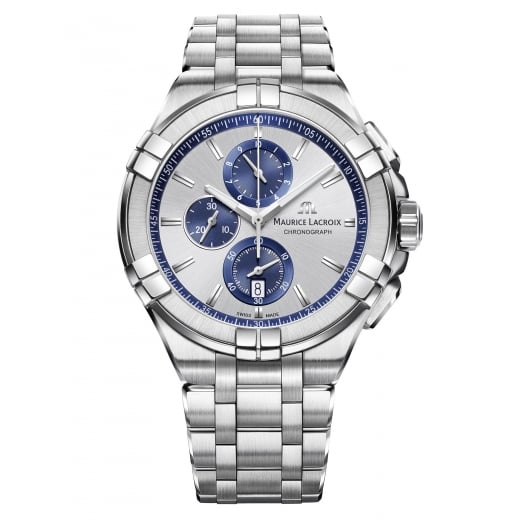Maurice Lacroix Gents Aikon Silver & Blue Chronograph Dial