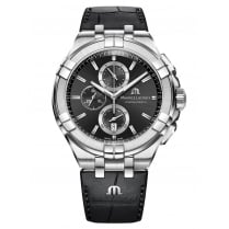 Gents Black Chronograph Dial Aikon Watch with Black Leather Strap