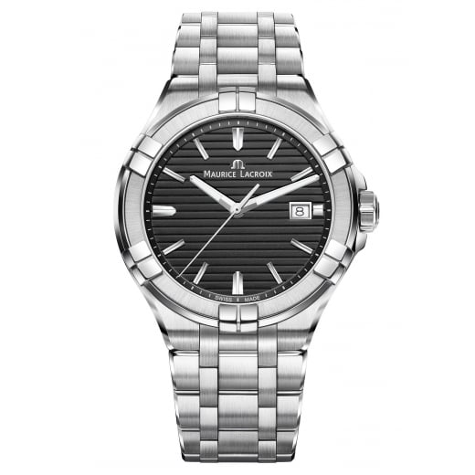 Maurice Lacroix Gents Black Dial Brushed Stainless Steel Bracelet Date Watch